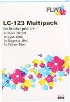 FLWR Brother LC-123 Multipack zwart en kleur (Huismerk (compatible))