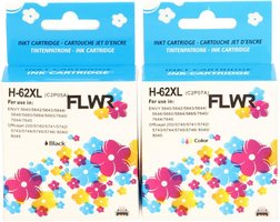 FLWR HP 62XL 2-pack zwart en kleur (Huismerk (remanufactured))