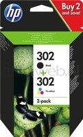 HP 302 2-pack zwart en kleur (Origineel)