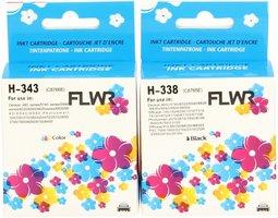 FLWR HP 338 en 343 Multipack zwart en kleur (Huismerk (compatible))