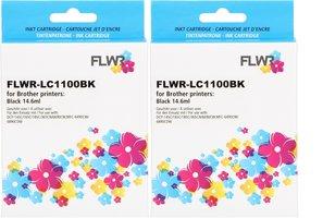 FLWR Brother LC-1100BK 2-pack zwart (Huismerk (compatible))