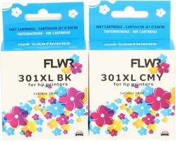 FLWR HP 301XL Multipack zwart en kleur (Huismerk (remanufactured))