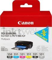 Canon CLI-551 6-pack zwart en kleur (Origineel)