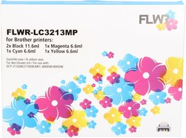 FLWR Brother LC-3213 Multipack zwart en kleur (Compatible XXL)
