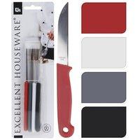 Excellent Houseware Schilmessenset Rood Wit Grijs Zwart 4 Stuks