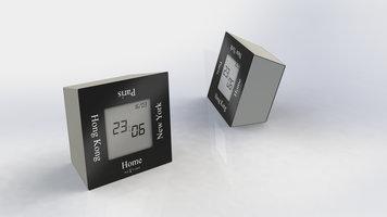 NeXtime NE-5190ZW Alarmklok 7,4x4x7,4cm Metaal, Zwart, 'Turn4Time'