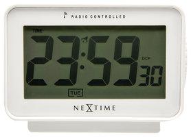 NeXtime NE-5202WI Wekker 12.3 X 8.8 Cm, Plastic, Mat Wit, 'Easy Alarm' Radio Controlled