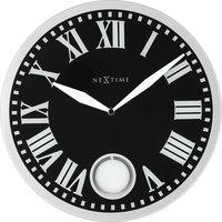 NeXtime NE-8161 Wandklok Dia. 43 X 4.2 Cm, Glas, Zwart, 'Romana'