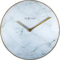 NeXtime NE-8189WI Wandklok Marble Ø 40 Cm Wit