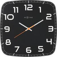 NeXtime NE-8816ZW Wandklok 30 X 30 X 3.5 Cm, Glas, Zwart, 'Classy Square'