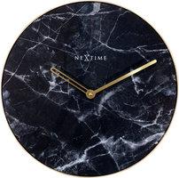 NeXtime NE-8189ZW Wandklok Marble Ø 40 Cm Zwart