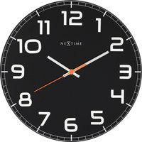 NeXtime NE-8817ZW Wandklok Dia. 30 X 3.5 Cm, Glas, Zwart, 'Classy Round'