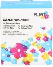 FLWR Canon PGI-1500XL 4-pack zwart en kleur (Huismerk (compatible))