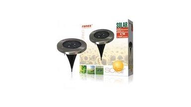 Ranex Ra-5000389 Ronde Led Solar Grondspot Geborsteld Rvs Glas